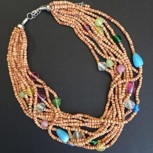 Jewelry - Natural Seed Bead Stranded Necklace with Stones